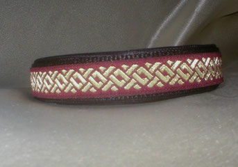 Klickverschluss, Halsband, 2,5cm, Gurtband schwarz, Borte Goldvlies