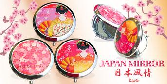 日本土産の新商品。桜・舞妓・扇子のコンパクトミラー。