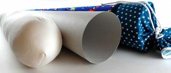 Bild: Stoffschultüte mit Kartonkegel und Kissen Inlett