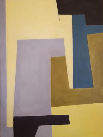 Géométrie bleu et jaune 2011 acrylique et huile 46X66