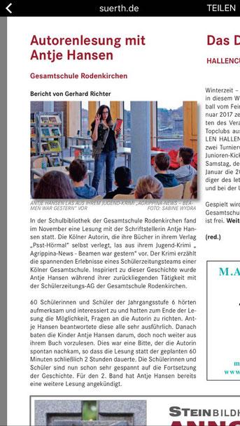 Soreta, Autorenlesung Antje Hansen, Agrippina-News in der Gesamtschule Rodenkirchen