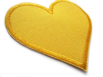 wasserdichte Flicken für Regenhosen zum aufnähen, Herz Patches gelb