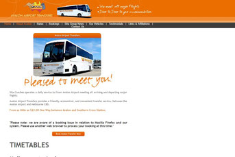 Avalon Airport Transfers ウェブサイト