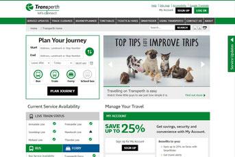Transperth ウェブサイト