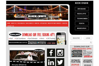 Black & White Cabs Brisbane ウェブサイト
