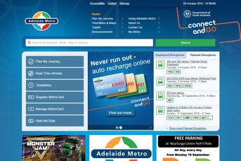 Adelaide Metro ウェブサイト