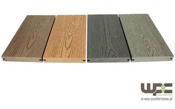 BPC Diele Bambus Volldiele WPC Massivdiele Holz Optik Farben Nuss Anthrazit Granit Bangkirai