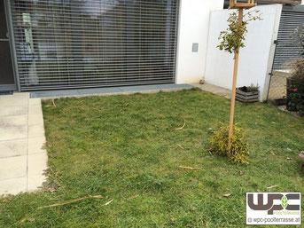 Terrasse vor Sanierung Vergrößerung mit BPC Bambus WPC Terrassendielen Montage auf Alu Unterkonstrukion in Kies Schotterbett