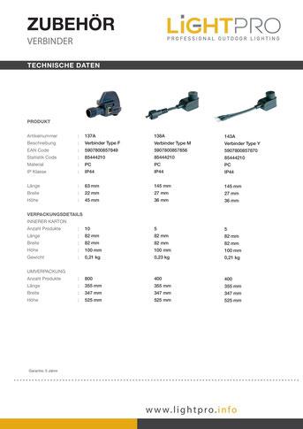Verbinder Techmar LightPro - System - Garden Lights 12V Gartenbeleuchtung Außenbeleuchtung