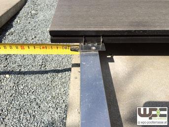 BPC Bambus WPC Terrassendielen Alu Unterkonstrukion Überstand - max Überstand 5cm