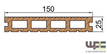 WPC Dielen Bambus BPC Terrassendielen Hohlkammerdiele Schnitt 150mm x 25mm Abmessung