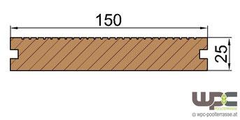 WPC Dielen Bambus BPC Terrassendielen Massivdiele Schnitt 150mm x 25mm Abmessung