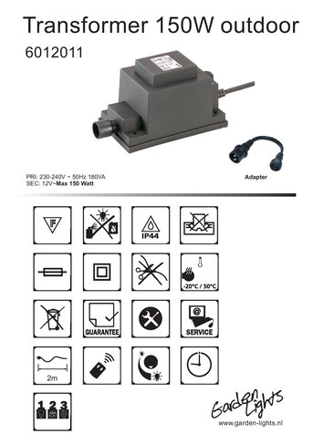 Techmar Garden Lights - LightPro - Transformator 12V 150W Produktblatt WPC Pool Terrasse