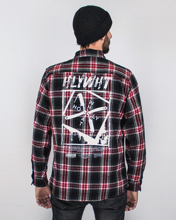 holywhat hlywht razorshirt streetwear flannel shirt flanell hemd red rot handfinished - visit our online shop at this-is-holywhat.com