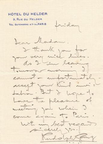 Rudolf Ganz, lettre autographe signée