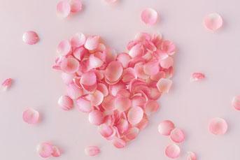 ピンクと白のダリアの花束。