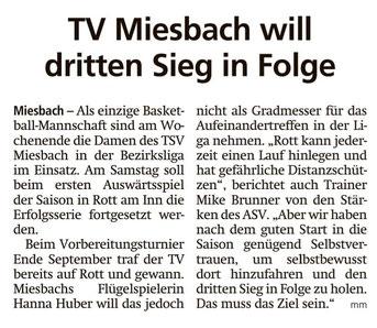 Artikel im Miesbacher Merkur am 26.10.2019 - zum vergrößern klicken