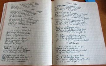 hier eine Doppelseite mit den Gedichten 48  Ein Traum, 49 Tod und Leben und 50 Volksurteil