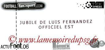 Ticket  Jubilé Luis Fernandez  2009-10