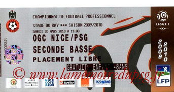 Ticket  Nice-PSG  2009-10