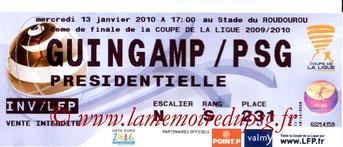 Ticket  Guingamp-PSG  2009-10