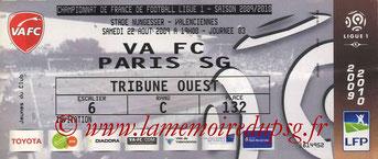 Ticket  Valenciennes-PSG  2008-09