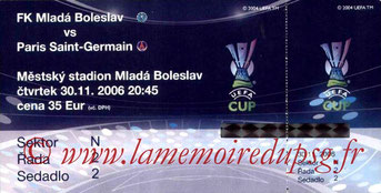 Ticket  Mlada Boleslav-PSG  2006-07