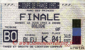 Ticket  PSG-Nantes  1992-93