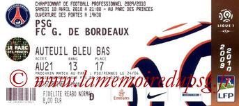 Ticket  PSG-Bordeaux  2009-10