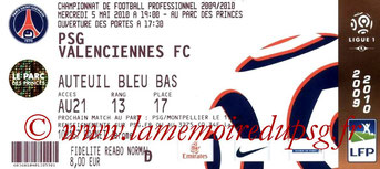 Ticket  PSG-Valenciennes  2009-10