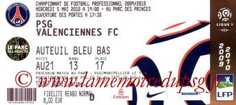 Ticket  PSG-Valenciennes  2009-10