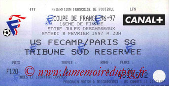 Ticket  Fécamp-PSG  1996-97