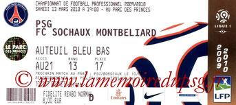Ticket  PSG-Sochaux  2009-10