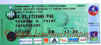 Ticket  Saint-Etienne-PSG  2005-06