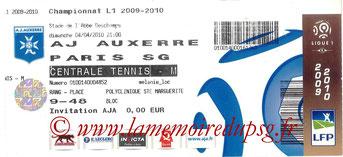 Ticket  Auxerre-PSG  2009-10