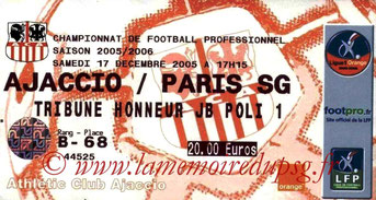 Ticket  Ajaccio  2005-06