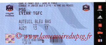 Ticket  PSG-Evian  2009-10