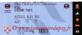 Ticket  PSG-Evian  2009-10