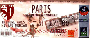 Ticket  Metz-PSG  2005-06