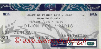 Ticket  Dijon-PSG  2011-12