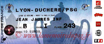 Ticket  Lyon Duchèr-PSG  2005-06