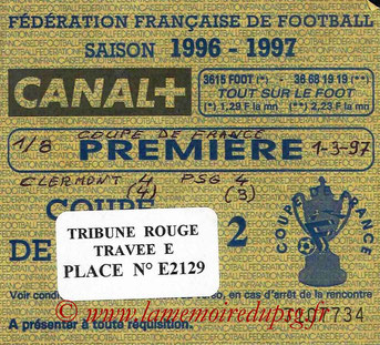 Ticket  Clermont-PSG  1996-97