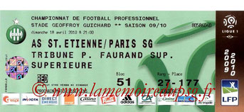 Tickets  PSG-Saint Etienne  2009-10
