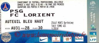 Ticket  PSG-Lorient  2011-12