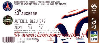 Ticket  PSG-Auxerre  2008-09