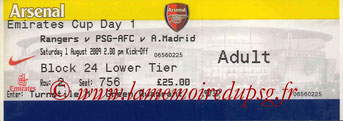 Ticket  Rangers-PSG  2008-09