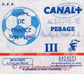 Ticket  Boulogne sur Mer-PSG  1991-92