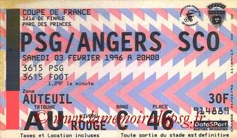 Ticket  PSG-Angers  1996-97
