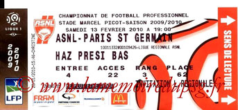 Ticket  Nancy-PSG  2009-10