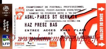 Ticket  Nancy-PSG  2009-10